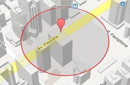 Cerca eletrônica no Google Maps.