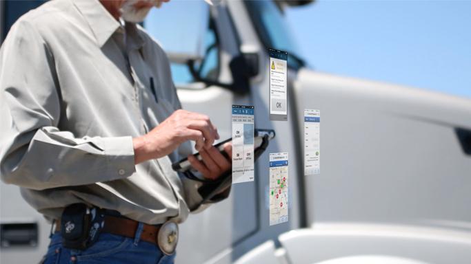 Motorista de caminhão com smartphone